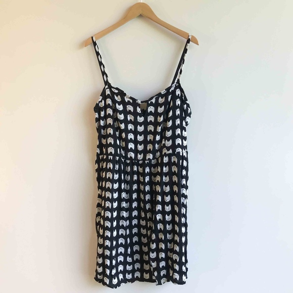 AUW Kitty Cat Black & White Plus Size Sun Dress